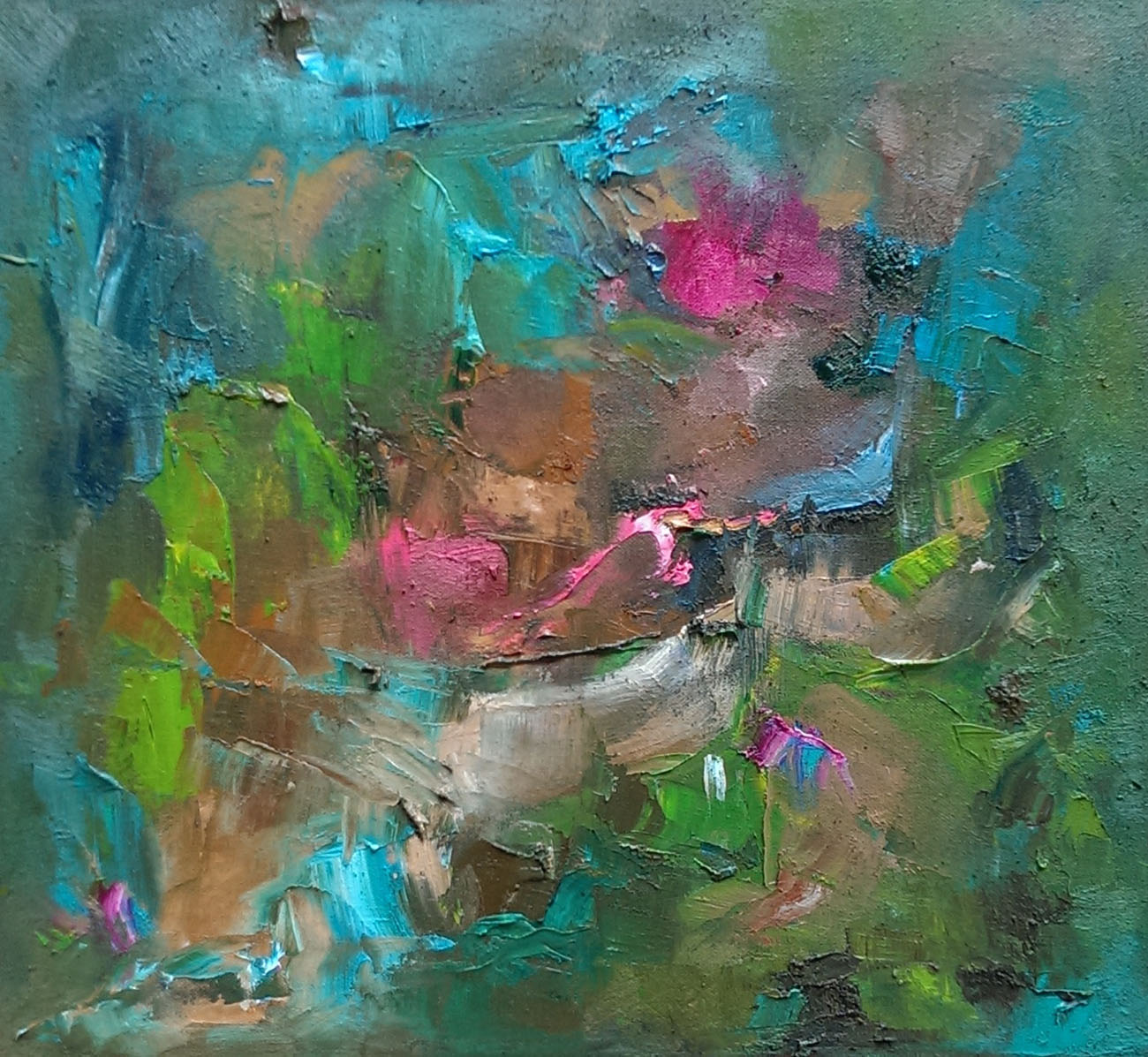 Cuban landscape oil on canvas with rose quartz, aventurine 16×18″/41x46cm