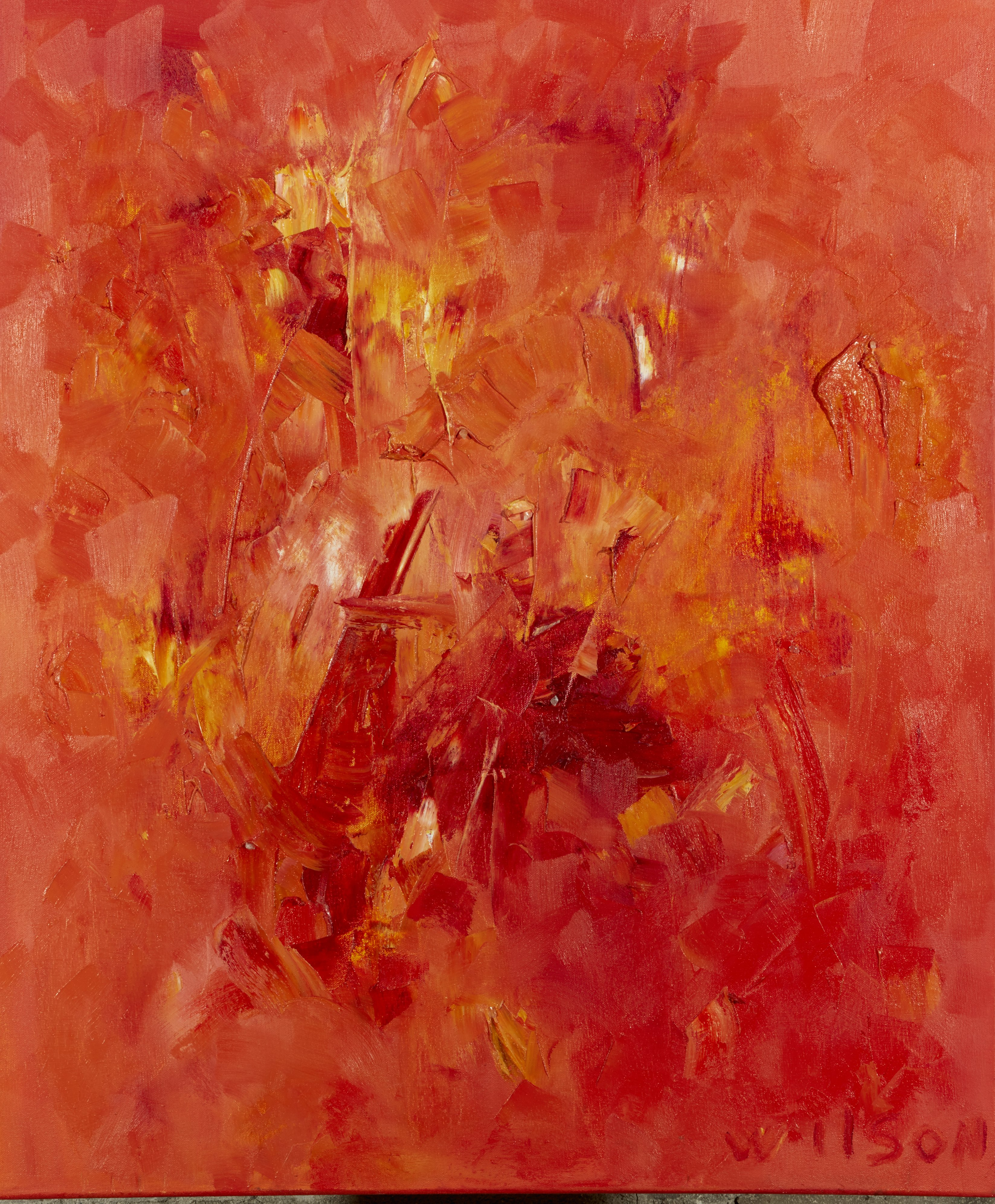 Sweat Lodge Revelations oil on canvas with yellow calcite, rose quartz 30×36″